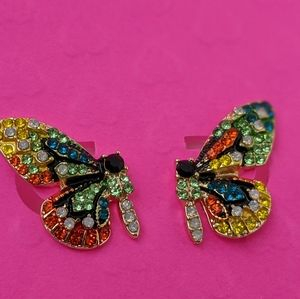 Simply Mahari Jewelry - Crystal Butterfly Crystal Earrings